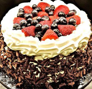 doux, crème, chocolat, gâteau, bleuets, sucre, aliments, berry, délicieux