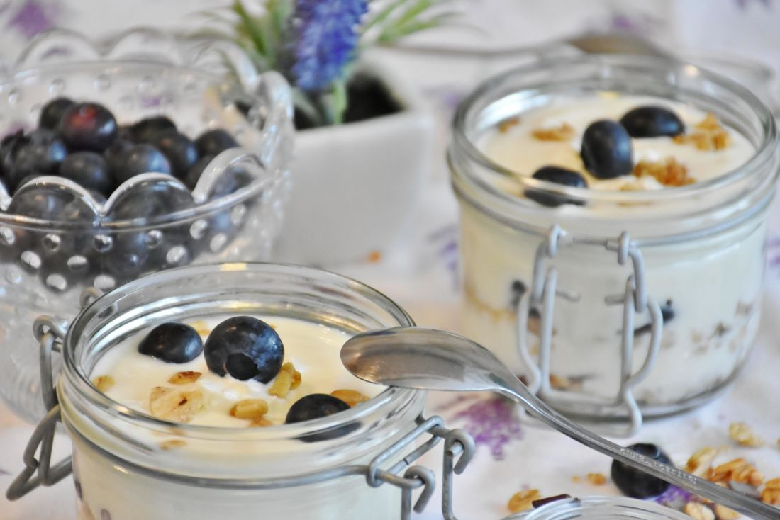 snídaně, lžíce, ovoce, jídlo, sklo, dezert, jogurt
