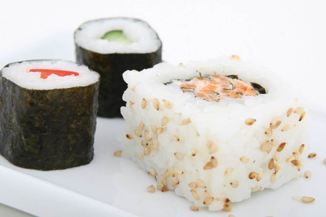 sushi, rice, salmon, food, fish, seafood, meal, dish, Japan