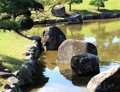 water, lake, garden, nature, stream, stone, fountain, structure