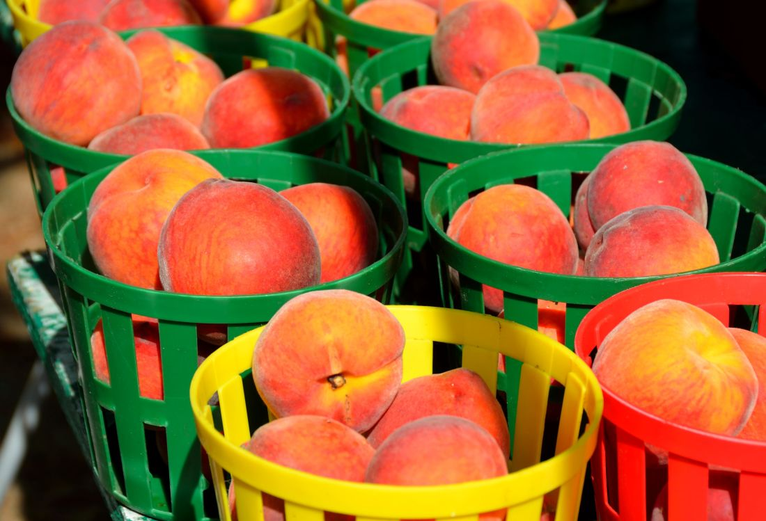 hrane, košara, breskva, voće, obrok, dijeta, voćnjak, slatko