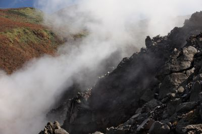 eruption, landscape, water, smoke, fog, mist, mountain