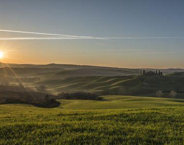 paysage, coucher de soleil, l'agriculture, domaine, aube, colline, ciel, ferme, herbe
