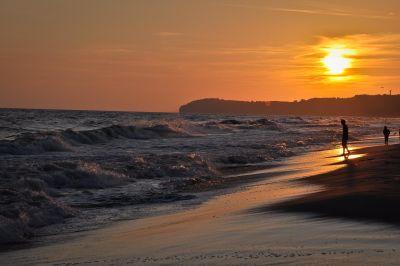 coucher de soleil, plage, eau, mer, aube, océan, soleil, crépuscule, littoral, Côte