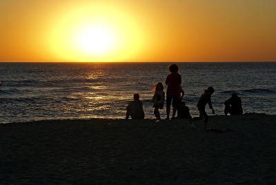 coucher de soleil, aube, plage, soleil, mer, océan, eau, crépuscule, rétro-éclairé, étoile