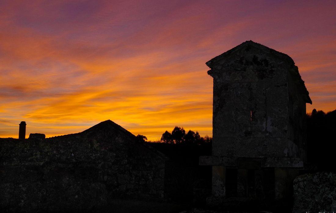 coucher de soleil, ciel, structure, paysage, forteresse