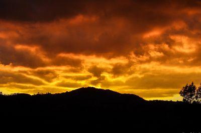 puesta de sol, cielo, amanecer, crepúsculo, sol, montaña, paisaje, ambiente