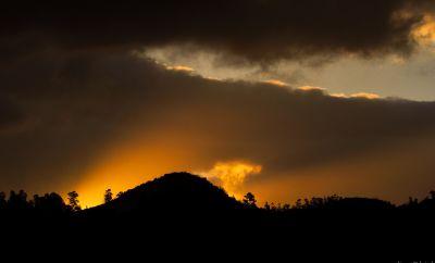 coucher de soleil, aube, silhouette, rétro-éclairé, paysage, soleil, crépuscule, ciel, étoile
