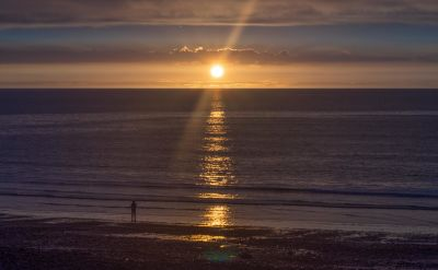 sunset, water, dawn, beach, sun, sea, ocean, landscape, star, sky