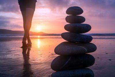 плаж, море, залез, океан, вода, баланс, слънце, медитация, морския бряг
