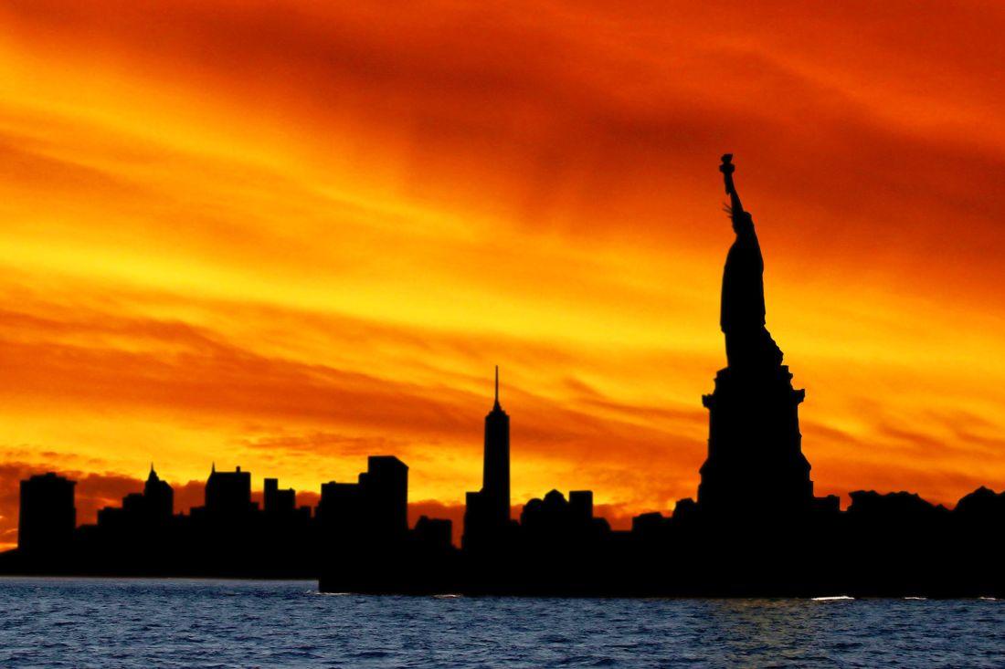 coucher de soleil, aube, crépuscule, eau, ciel, Palais, château, ville, architecture