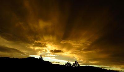 sunset, dawn, landscape, sky, dusk, sun, silhouette, backlit, star