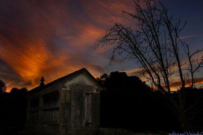 coucher de soleil, aube, crépuscule, grange, ciel, structure