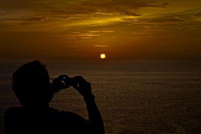 sunset, backlit, dawn, dusk, beach, sun, water, landscape, star