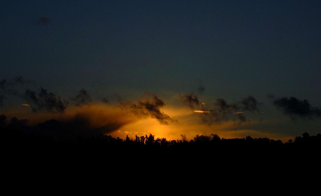 puesta de sol, cielo, amanecer, silueta, paisaje, atardecer, sol, Luna, ambiente