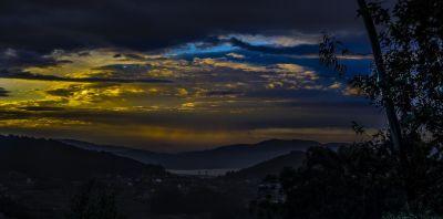 coucher de soleil, ciel, montagne, aube, paysage, nature, soleil, étoiles, nuages