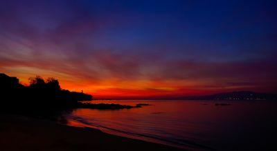 coucher de soleil, aube, crépuscule, eau, soleil, plage, océan, mer, lever du soleil, étoiles, ciel,