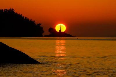 sunset, dawn, water, sun, dusk, beach, sea, backlit, ocean, star