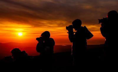 puesta de sol, silueta, retroiluminado, amanecer, sol, atardecer, gente, hombre, equipo