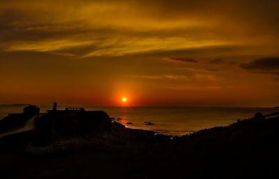 sunset, dawn, dusk, water, sun, beach, sea, backlit, star, ocean