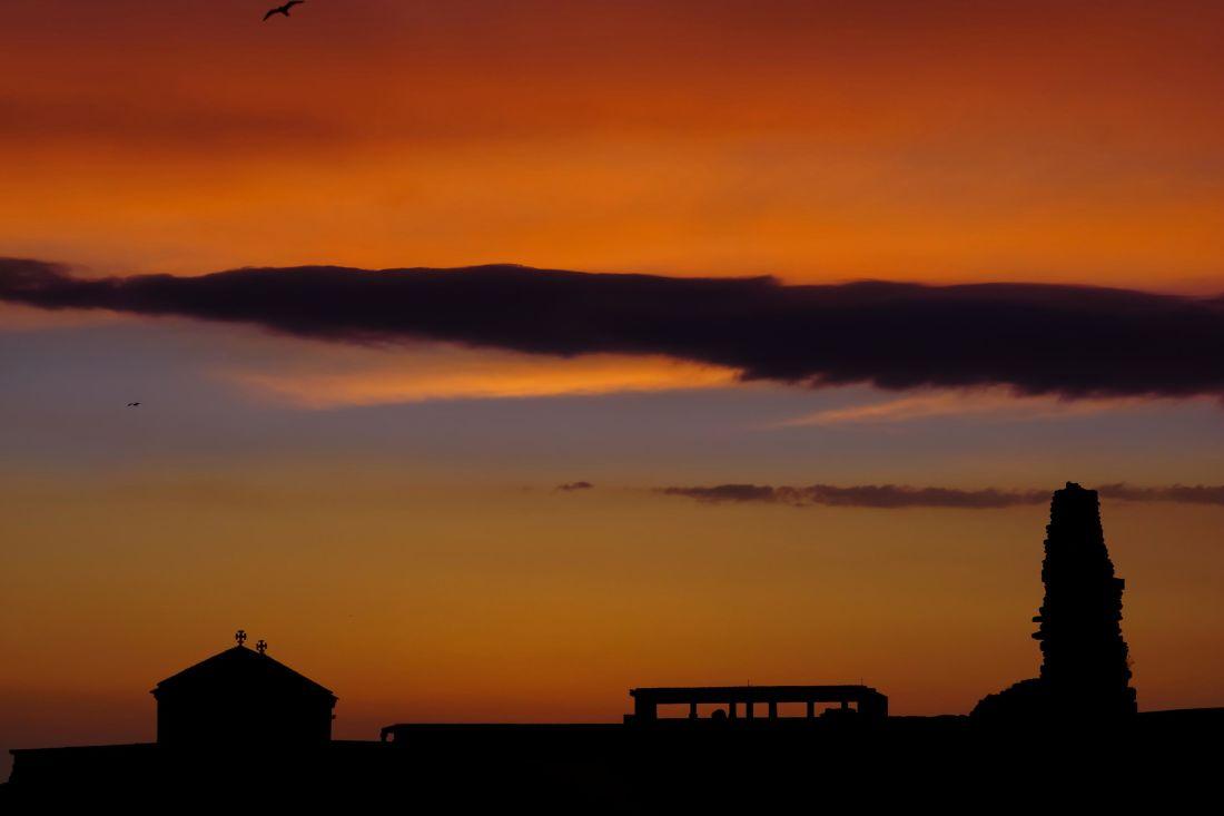 puesta de sol, amanecer, anochecer, silueta, sol, retroiluminado, cielo, Luna, ambiente