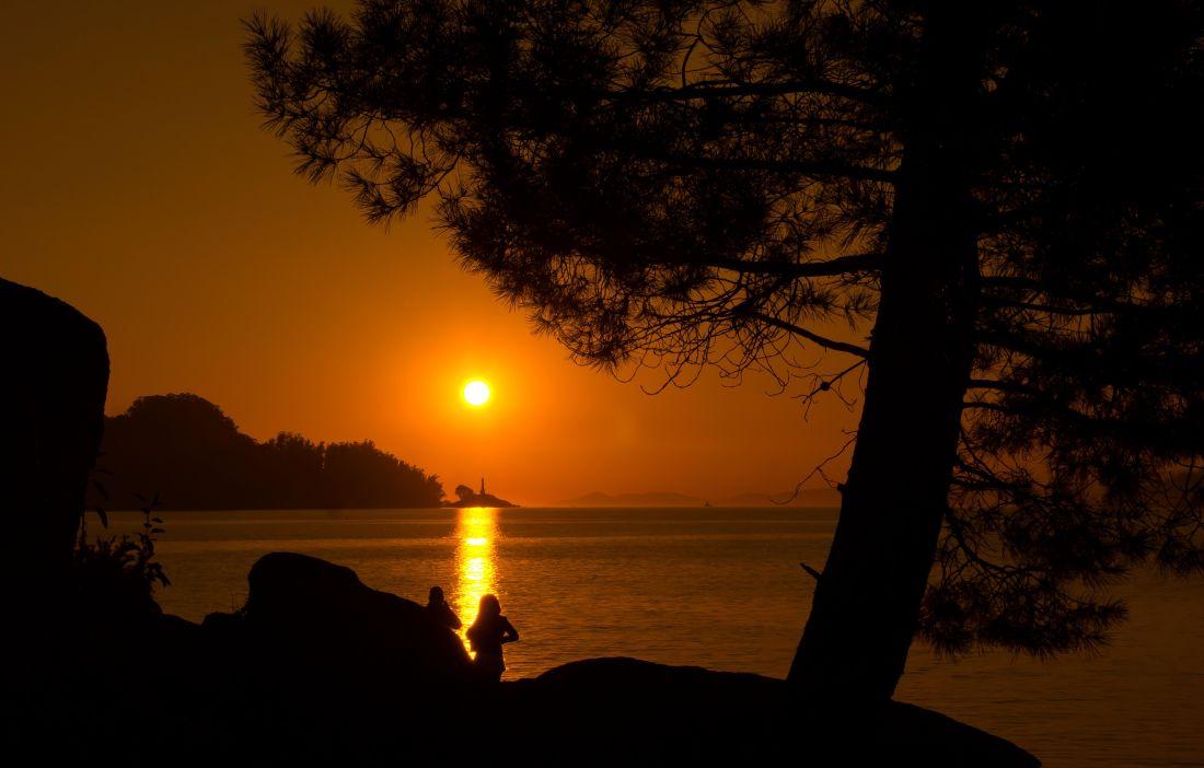 zachód słońca, Świt, sylwetka, podświetlany, zmierzchu, woda, słońce, plaża, krajobraz