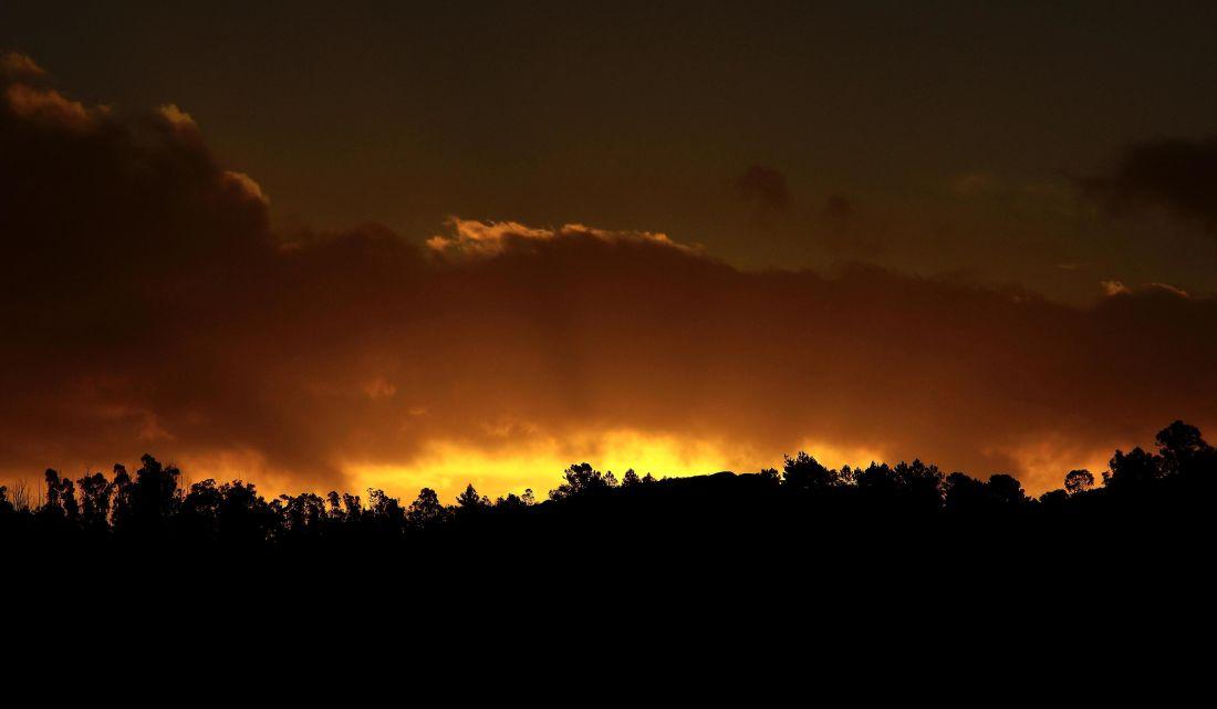 solnedgång, dawn, siluett, solen, skymning, bakgrundsbelyst, landskap, himlen, stjärnor