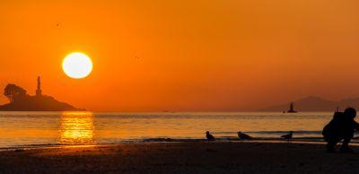 solnedgång, gryning, solen, vatten, skymning, strand, havet, ocean, soluppgång, sky