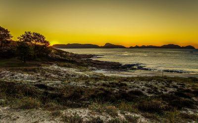 solnedgång, strand, havet, vatten, landskap, ocean, dawn, sky, natur