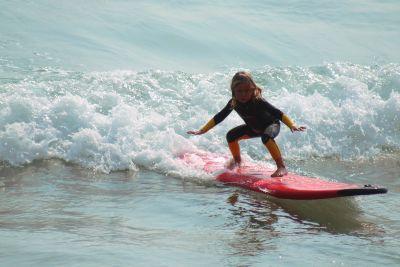 wody, morze, ocean, plaża, sport, surfer, lato, dziecko