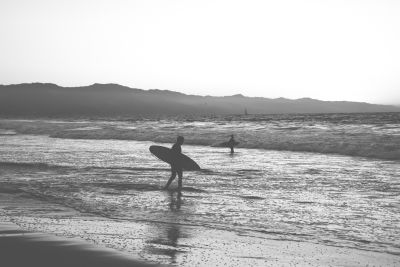 sea, beach, water, ocean, seashore, monochrome, surfer, sport, sand