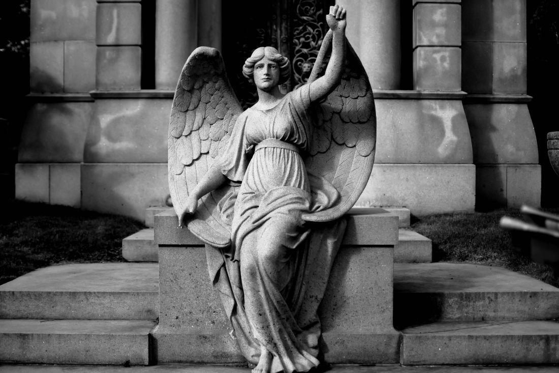 arte, monocromatico, Angelo, statua, statua, scultura, antico, religione