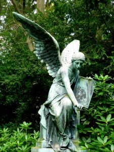 statue, sculpture, art, herb, tree, plant, angel, marble, cemetery