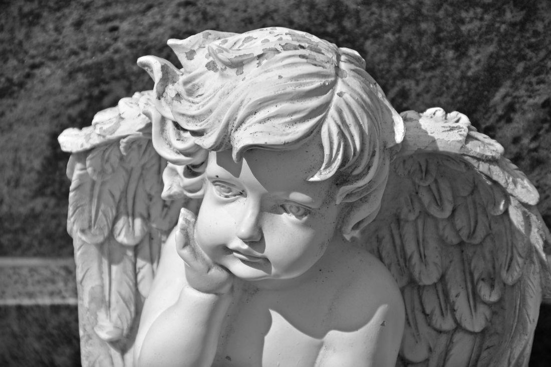 skulptur, barn, angel, marmor, statue, kunst, religion, sort/hvid