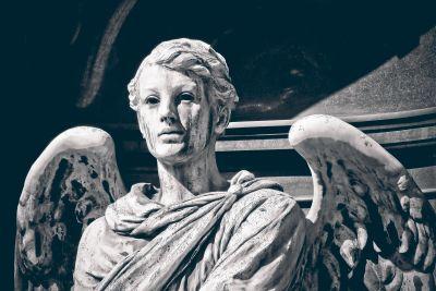 monochromatyczne, rzeźba, portret, anioł, religii, pomnik, sztuka, marmur, kamień