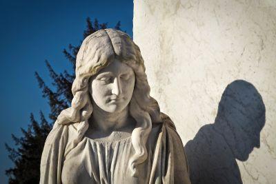 skulptur, staty, marmor, skugga, religion, konst, kyrkogård, arkitektur