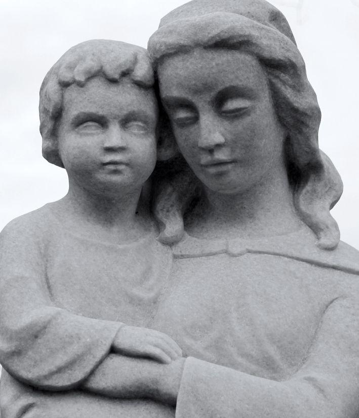 people, portrait, mother, son, stone, marble, statue, art, sculpture