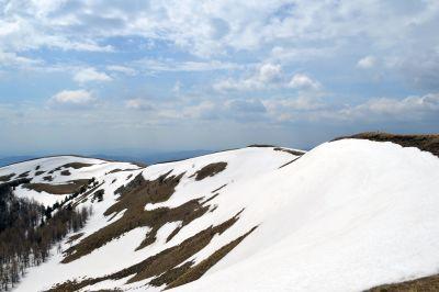 눈, 겨울, 산, 감기, 힐, 하늘, 구름, 풍경