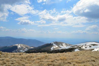 mountain, landscape, sky, snow, nature, hill, blue sky, grass, cloud