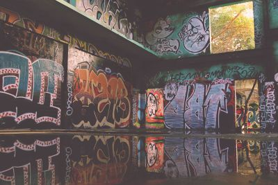 graffiti, interior, text, art, wall, sign, colorful, culture, architecture