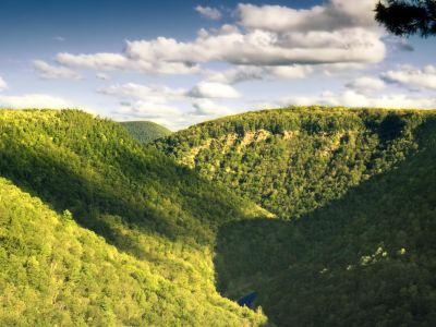 údolí, krajina, příroda, tráva, mrak, hill, mountain, strom, obloha