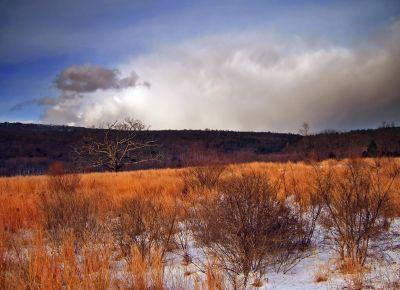 landscape, dawn, nature, hill, snow, sunset, field, sky, grass, rural