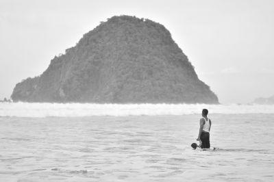 单色, 水, 海, 海滩, 海洋, 海滨, 人, 海岛