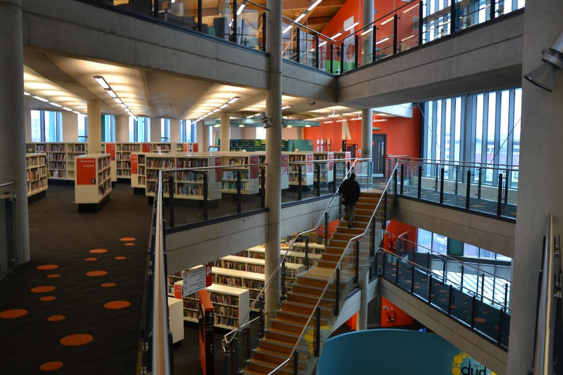 indoors, modern, library, structure, architecture, shelf, room, library, inside, university