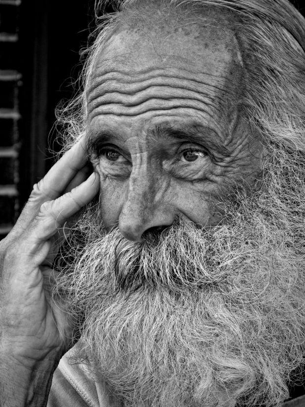 ljudi, portret, čovječe, brkove, star, brada, crno-bijeli