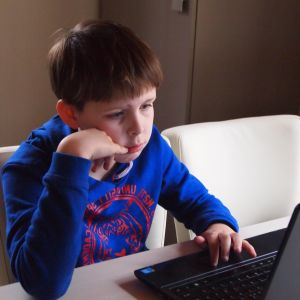 child, boy, internet, laptop computer, technology, room, sit