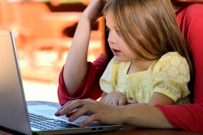 child, laptop computer, education, people, girl, computer, person