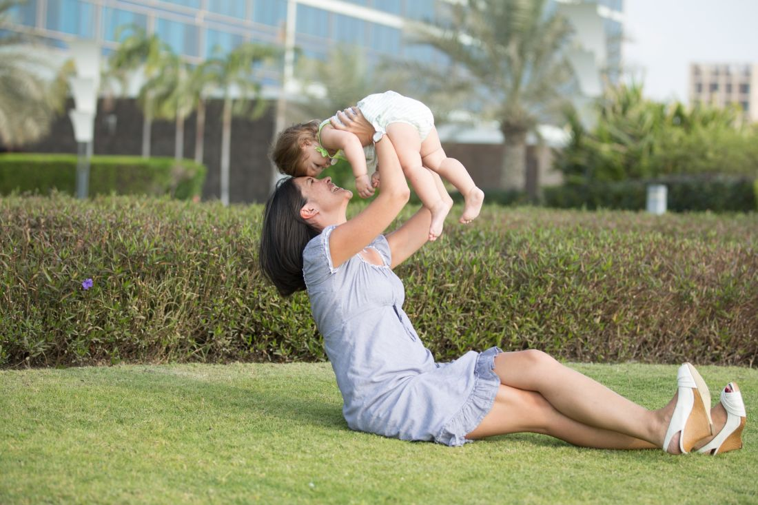 grass, lifestyle, woman, lawn, happy, smile, parenthood