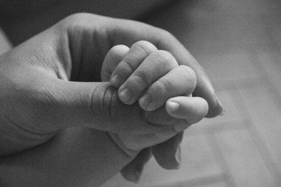 Hand, Menschen, Baby, Fuß, Neugeborenen, Frau, Sepia, Schwarzweiß