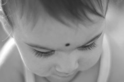 monocromo, retrato, chica guapa, recién nacido, cara, piel, niño